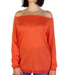 Armani Jeans Orange Off Shoulder Sweater