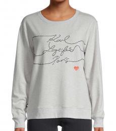 Karl Lagerfeld Light Grey Ribbed Cotton-Blend Sweatshirt