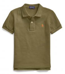 Little Boys Defender Green Mesh Polo