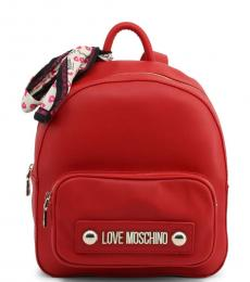Love Moschino Red Front Pocket Medium Backpack
