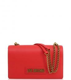 Love Moschino Red Lettering Logo Medium Shoulder Bag