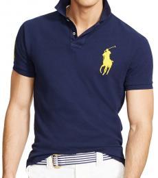 Ralph Lauren Navy Gold Big Pony Custom Fit Polo