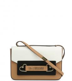 Love Moschino Light Brown Colorblock Medium Shoulder Bag