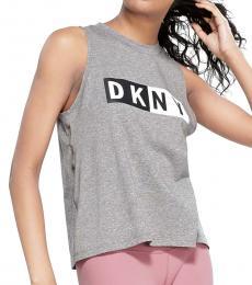 DKNY Heathergrey Logo Print Tank Top