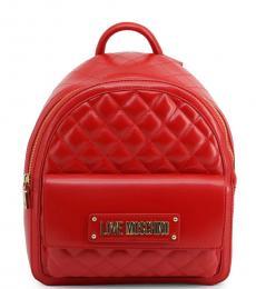 Love Moschino Red Flap Pocket Medium Backpack