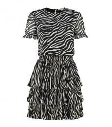 BlackWhite Georgette Tiered Dress