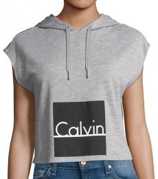 Calvin Klein Grey Logo Hoodie Top