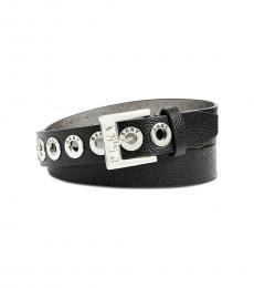 DKNY Black Pebbled Grommet Belt