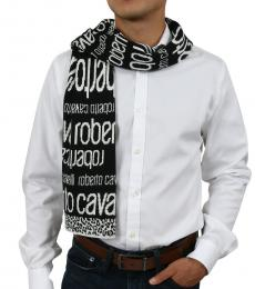 Roberto Cavalli White-Black Logo Scarf
