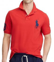 Ralph Lauren Red Navy Big Pony Custom Fit Polo