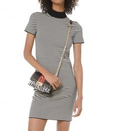 BlackWhite Striped Mock-Neck Dress