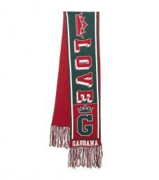 Dolce & Gabbana Red-Green Royal Love Scarf
