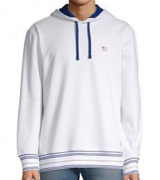 White Logo Cotton Blend Hoodie
