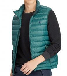 Green Down Packable Puffer Vest