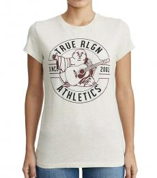 True Religion White Athletic Buddha Crew Neck Tee