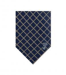 Versace Navy-White Diamond Check Textured Tie