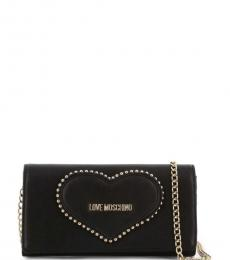 Love Moschino Black Studded Heart Clutch