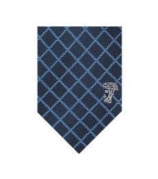 Versace Navy Blue Diamond Check Textured Tie