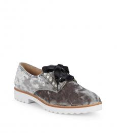 Karl Lagerfeld Silver Fabric Velvet Pearl Studded Lace Ups