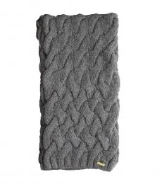 Grey Braided Chunky Cable Knit Scarf