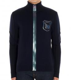 Blue Logo Iridescent Cardigan