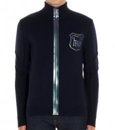 Fendi Blue Logo Iridescent Cardigan