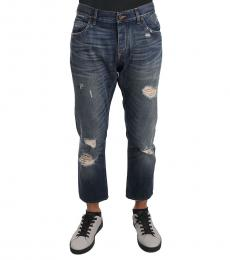 Dolce & Gabbana Blue Cotton Ripped Jeans