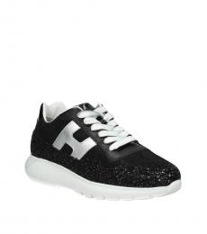 Black Glitter Leather Sneakers