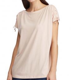 Ralph Lauren Light Pink Lace-Up-Sleeve Top