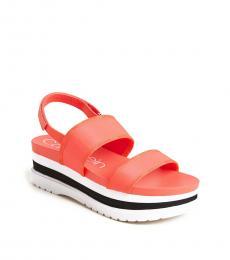 Pink Fluorescent Nola Platform Sandals