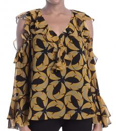 Diane Von Furstenberg Light Yellow Cold Shoulder Ruffle Blouse