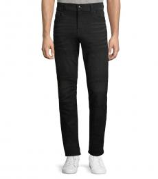 Black Relaxed-fit Whiskered Jeans