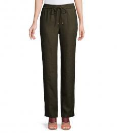Olive Linen Drawstring Pants