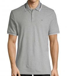 Calvin Klein Grey Heathered Short-Sleeve Polo