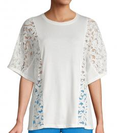 Off White Lace-Panel Flutter Top