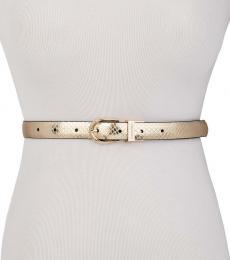 Calvin Klein Golden-Black Snake-Embossed Reversible Belt
