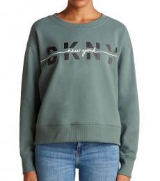 DKNY Flame Split Script Logo Fleece Sweatshirt