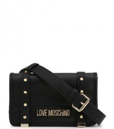 Love Moschino Black Studded Flap Small Crossbody