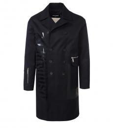 Dsquared2 Black Side Logo Long Coat