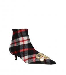 Multicolor Plaid Ankle Boots