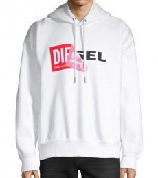 Diesel White Alby Logo Hoodie