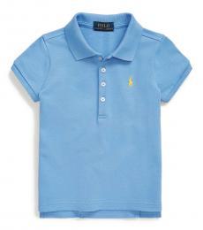 Ralph Lauren Little Girls Harbor Island Blue Mesh Polo