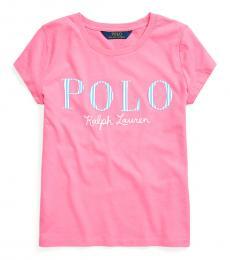 Ralph Lauren Girls Baja Pink Logo T-Shirt