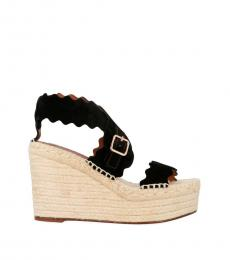 Black Scalopped Bands Wedges