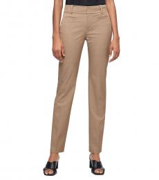 Beige Solid Stretch Ankle Pants