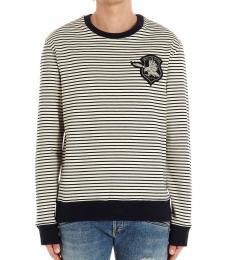 Balmain Blackwhite Badge Striped Sweater