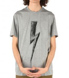 Neil Barrett Grey Crewneck Thunderbolt T-Shirt