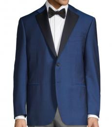 Canali Blue Regular-Fit Wool Coat