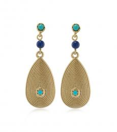 Turquoise-Gold Tear Drop Earrings