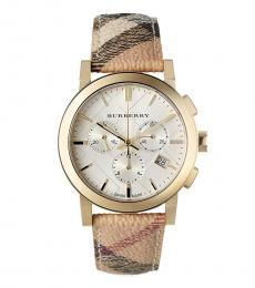 Burberry Beige Chronograph White Dial Watch
